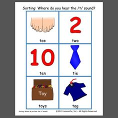 Listen and sort these cards: :where do you hear the /t/ sound? The cards are made at LessonPix using the Soundfinder tool. Early Reading, Reading Skills, Speech Therapy, Sorting, Curriculum, Playing Cards, Train, Speech Pathology, Resume
