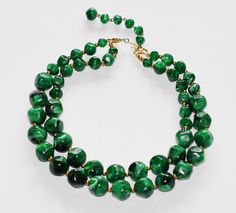 Rogue Vintage Emerald Green Malachite Beaded Necklace