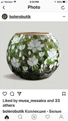 Mosaic potYou can find Mosaic pots and more on our website. Mosaic Planters, Mosaic Tray, Mosaic Flower Pots, Mosaic Garden, Mosaic Tiles, Pebble Mosaic, Mosaic Crafts, Mosaic Projects, Stained Glass Designs