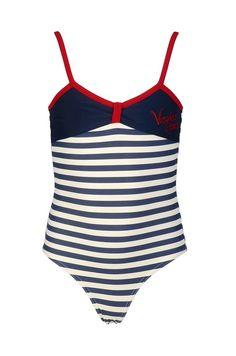 Vingino badpak voor meisjes Zola stripe, blauw