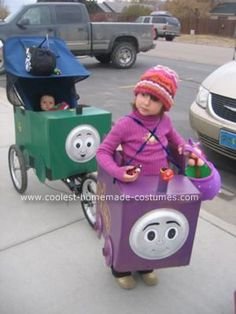 Lady, Percy and Whiff -- DIY Thomas & Friends Halloween costumes made with cardboard boxes