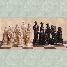American Civil War crushed stone chess set