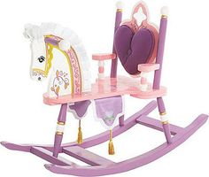 Wildkin Princess Rocking Horse: Removable padded backrest with cut-out detail Silky satin mane & ears Regal banner with gold tassels. Your royal highness will enjoy every second spent on their very own rocking horse! Kids Rocking Horse, Wooden Rocking Chairs, Regal Design, Princess Collection, Ride On Toys, Toy Boxes, Little Princess, Princess Room, Princess Party