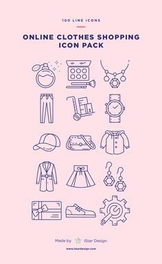 Online Clothes Shopping Icons Set made by iStar Design. Series of 100 pixel-perfect icons, created by influence of online shopping and e-commerce. Live stroke & outlined stroke icons available to suit your design from 1 pt upwards. Carefully handcrafted icons usable for digital design or any possible creative field. Suitable for print, web, symbols, apps, infographics.