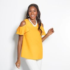 Yellow ruffle-sleeve top with buttons at the shoulder to create flutter sleeves. Imported. Misses $24.99 Also available in Women's Buy Avon Online https://adavis0493.avonrepresentative.com/ #Blouse #Summer #Fashion