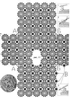 Blue tunic with round patterns. Pull Crochet, Mode Crochet, Crochet Tunic, Thread Crochet, Crochet Clothes, Crochet Lace, Crochet Motifs, Crochet Diagram, Crochet Stitches Patterns