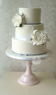 White roses & butterflies wedding cake