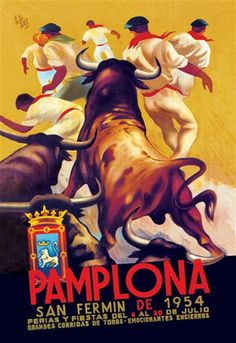 Buyenlarge Pamplona, San Fermin by Charles Dana Gibson Vintage Advertisement on Wrapped Canvas Size: 3 Cool Posters, Travel Posters, Vintage Ads, Vintage Posters, Vintage Travel, Vintage Style, San Fermin Pamplona, Charles Dana Gibson, Running Of The Bulls