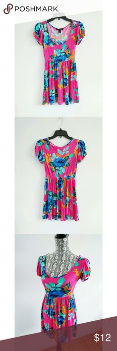 Forever 21 Blue Roses Pink Floral Dress Small I love to bundle. Feel free to mix n match with my other listings, I will create a new bundle deal for you.  Worn once or twice, like new condition. Forever 21 Dresses