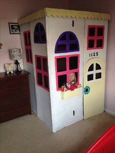 Cardboard box playhouse diy