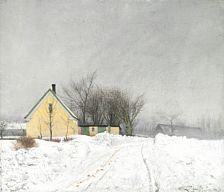 """Ældre malerier: L. A. Ring: """"Taaget Vinterdag. Et lysgult Hus til venstre. Dyb Sne"""". Sign. L. A. Ring 1910. Olie på lærred. 39 x 45."""