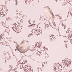 Un Bisou (310022) - Eijffinger Wallpapers - A pretty floral trail with beautiful robins - showing in pale purple/lilac. other colour ways available. Please request a sample for true colour match. Paste-the-wall product.