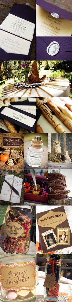 I don't think I'll ever want a Harry Potter weeding. A Harry Potter reception is a whole other story Objet Harry Potter, Cumpleaños Harry Potter, Harry Potter Wedding, Harry Potter Birthday, Geek Wedding, Dream Wedding, Wedding Ideas, Wedding Disney, Wedding Shit