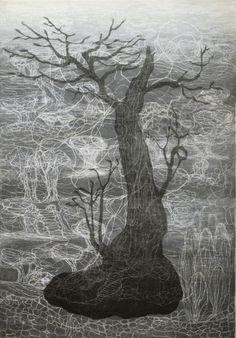 Vanha puu, Old Tree, Outi Kirves, woodcut