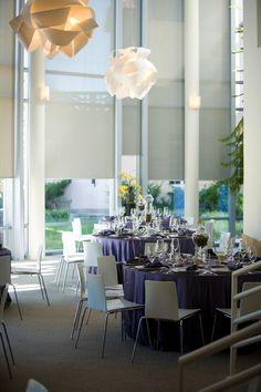 Lavender linens in La Villa Restaurant at Philbrook Museum.