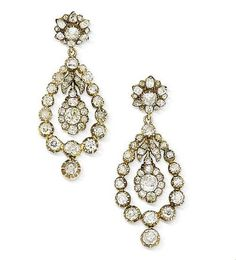 Roll out the red carpet!  A pair of 19th century diamond earrings.
