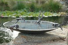 Unique Bird Bath Bronze Frogs