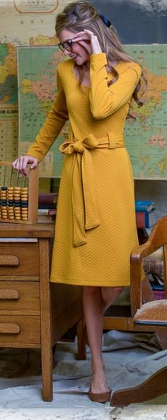 LOVE this textured chevron print dress in goldenrod