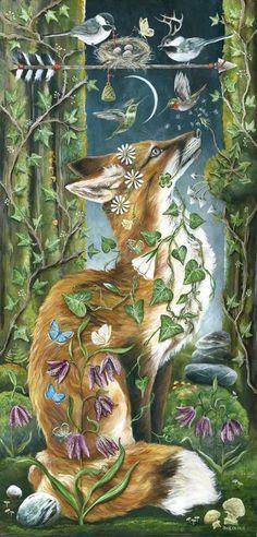 Janie Olsen The Music Up Above Painting 12 x 24 Unknown date Fox Art, Painting Gallery, Whimsical Art, Amazing Art, Illustrators, Art Photography, Illustration Art, Art Illustrations, Artsy