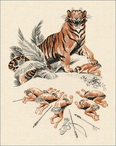 Illustrations by Sergey Artyushenko for a 1986 edition of The Jungle Book. Elegant and ferocious. Lion Illustration, Vintage Illustration Art, Rudyard Kipling Jungle Book, Book Libros, Law Of The Jungle, Comic Layout, Drawing Now, Cat Reference, Fantasy Monster