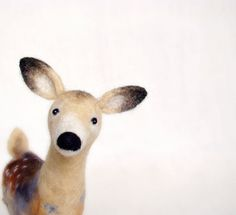 Hanna  - White Tailed Female Deer, Art Puppet Marionette Stuffed Animal Felted Toy , mteam. beige neutral cream brown.  MADE TO ORDER.