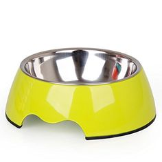 Stainless Steel Dog Cat Bowl Pet Bowl Dog Bowl Cat Food Bowl Fanpen 6 Colors Yellow L * For more information, visit image link.(This is an Amazon affiliate link and I receive a commission for the sales)