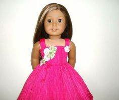 American Girl Doll Prom Dress Bright Pink with Roses by apriljunebug for $21.00