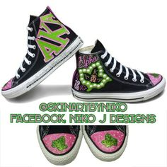 b75df9d07c1b8d Custom converse by Niko J Designs. AKA themed with glittered pink toe caps  with ivy leaf and 20 pearls on each cap. Line name down back strips.