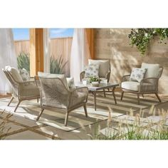 Hampton Bay Haymont Steel Wicker Outdoor Patio Conversation Deep Seating Set with Beige Cushions - The Home Depot Coffee Table With Chairs, Patio Dining Chairs, Outdoor Pouf, Outdoor Seating, Outdoor Chairs, Outdoor Decor, Beige Cushions, Wood Patio, Outdoor Furniture Sets