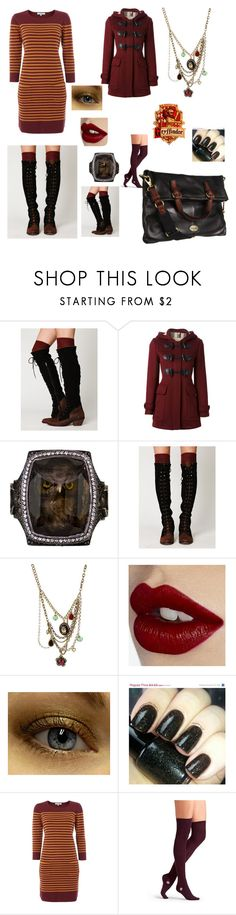 """""""Gryffindor"""" by missmoxxie ❤ liked on Polyvore featuring Free People, Burberry, Sevan Biçakçi, Betsey Johnson, Charlotte Tilbury, Magic Woman, Dickins & Jones, Hansel from Basel, FOSSIL and harrypotter"""