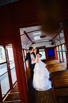 plener ślubny w tramwaju One Shoulder Wedding Dress, Wedding Dresses, Fashion, Bride Dresses, Moda, Bridal Gowns, Wedding Dressses, La Mode, Weding Dresses