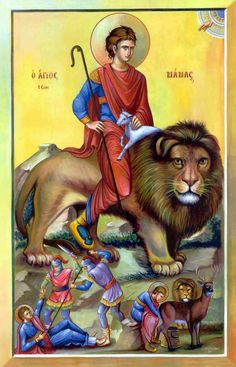 Mamas Protector of Animals Greek Orthodox Icon Religious Icons, Religious Art, Potnia Theron, St Catherine Of Alexandria, San Mamés, Bible Timeline, Creta, Jesus Art, Best Icons