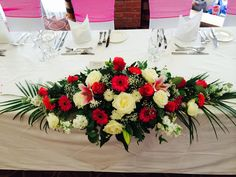 Wedding flowers for Top table display in roses and mixed flowers Funeral Flower Arrangements, Funeral Flowers, Table Arrangements, Floral Arrangements, Red Wedding Centerpieces, Garden Wedding Decorations, Floral Centerpieces, Bridesmaid Flowers, Bridal Flowers