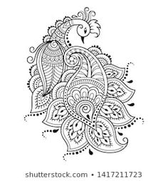 Mehndi flower pattern with peacock for Henna drawing and tattoo. Decoration in e… Mehndi flower pattern with peacock for Henna drawing and tattoo. Decoration in ethnic oriental, Indian style. Paisley Drawing, Peacock Drawing, Paisley Art, Henna Tattoo Hand, Mehndi Designs Book, Rangoli Designs, Mehndi Flower, Henna Mehndi, Hena