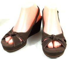 Rocket Dog Shoes Womens 8 M Brown Canvas Slingback Platform Wedge Heels Sandals #RocketDog #PlatformsWedges