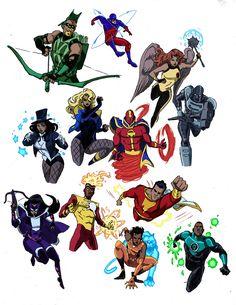 Mike Becker — Another Justice League sketchbook page Dc Comics Characters, Dc Comics Art, Marvel Dc Comics, Marvel Avengers, Batman Universe, Comics Universe, Superhero Shows, Superhero Design, Justice League Comics
