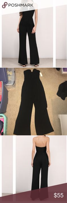 Black Strapless Jumpsuit Super adorable black jumpsuit perfect for lots of occasions! Has never been worn and still has tags :) it was originally $74 but not on the website it has gone down to $48, but is sold out and not coming back in stock! great deal! Tobi Pants Jumpsuits & Rompers