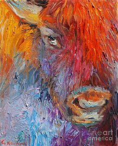 American Artists List Oil Paintings | ... Painting - Buffalo Bison Wild Life Oil Painting Print Fine Art Print