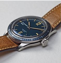 Vintage Watches Collection : Christopher Ward Trident Diver in Blue - Watches Topia - Watches: Best Lists, Trends & the Latest Styles Big Watches, Sport Watches, Cool Watches, Rolex Watches, Dream Watches, Tag Heuer, Christopher Ward, Casio G Shock, Luxury Watches For Men