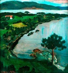 Nicolai Astrup - The Svanøy Bay (also known as Svanøybukten), 1900-05. Oil on canvas, 71 cm (27.95 in.) x 68 cm (26.77 in.). Bergen Kunstmuseum, Bergen, Norway