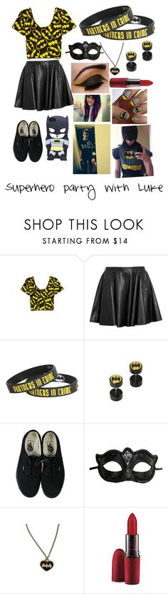 """""""Superhero party with Luke"""" by lostfangirl1996 ❤ liked on Polyvore featuring Forever 21, Chalayan, Hot Topic, Vans, Masquerade and MAC Cosmetics"""