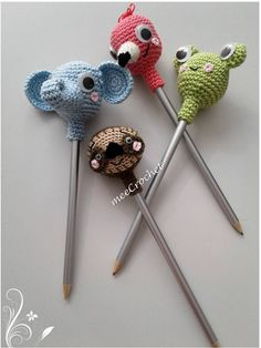 crocheted pencil toppers
