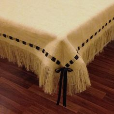 Burlap Tablecloth with Fringe and Ribbon от HouseofBurlap на Etsy