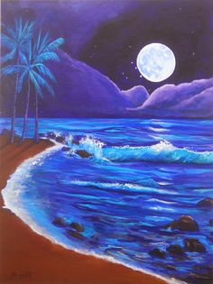 Kauai by Moonlight Original Acrylic Painting by Marionette from Kauai blue deep purple aqua turquoise teal moon
