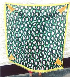 Modal cashmere scarf- Green print.