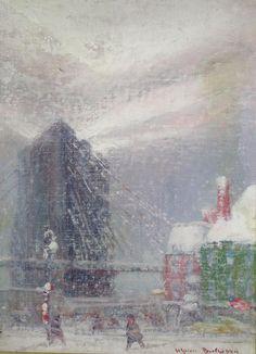 "Johan Berthelsen, American, 1883-1969, ""Brooklyn Bridge"", oil on board, signed lower right, verso gallery label. 12 x 8 1/2, f"