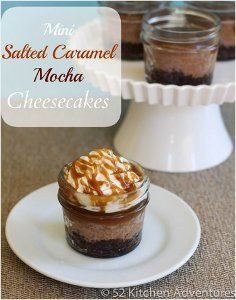Slow Cooker Mini Salted Caramel Mocha Cheesecakes in Jars - This creative slow cooker dessert recipe for cheesecake is made in mason jars in individual servings. Caramel, coffee, and chocolate come together in perfect harmony.