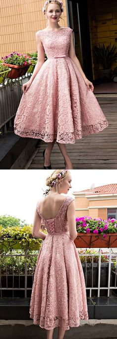 Elegant Bateau Tea-Length Pink Lace Prom Dress with Bow