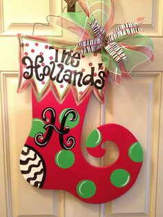 aDOORable Christmas Stocking personalized free. $40.00, via Etsy.