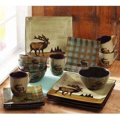 16 Piece Elk Country Square Dinnerware Set Stoneware Cabin Rustic Lodge Moose